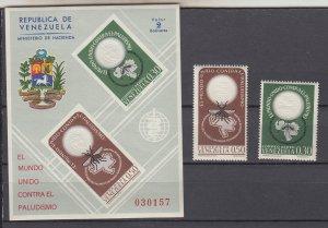 Z3867 1962 venezuela set + s/s mnh #825,c819-c819a WHO medicine