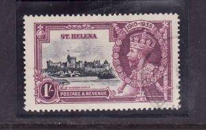 St Helena-Sc#114-used 1sh KGV Silver Jubilee-Castles-1935-