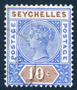 SEYCHELLES-1890-92 10c Ultramarine & Brown Die I Sg 4 FINE USED V19222