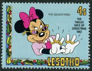 Disney; Minnie Mouse & Five Golden Rings, 1982 Lesotho, Scott #385. Free WW S/H