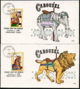 #2390-93 (5) CAROUSEL (5) DIFF HAND PAINTED FDC CHT BY COLLINS BP7748