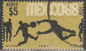 MEXICO C331, $5P Soccer 3rd Pre-Olympic Set 1967. USED. VF. (640)