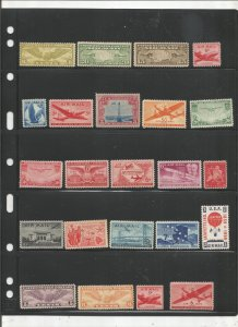 US AIRMAIL COLLECTION ON STOCK SHEET, ALL MINT