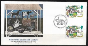 1983 Great Britain 1034 Fairs of the 17th Century gutter pair FDC