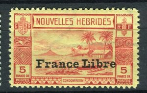 FRENCH; NEW HEBRIDES 1940s FRANCE LIBRE pictorial issue Mint hinged 5Fr. value
