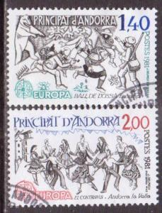 Andorra (Fr.)   #286-87  used  (1981)  c.v. $1.50