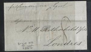 BRAZIL  (PP2701B) 1857  BRTISH PO SHIP LETTER TO ROTHSCHILD LONDON