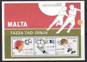 MALTA SGMS784 1986 FOOTBALL WORLD CUP MNH