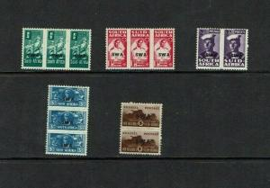 South  West Africa: 1942 War Effort, reduced size, part set Mint.