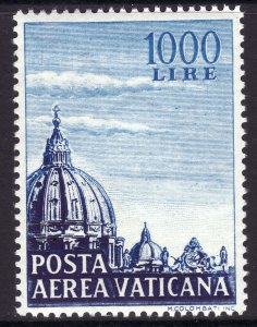 1953 Vatican Dome of St Peter's MNH airmail 1000 lire issue Sc# C23 CV $105