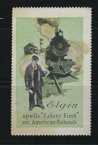 UNITED STATES - ELGIN RAILROAD WATCH POSTER STAMP MNH