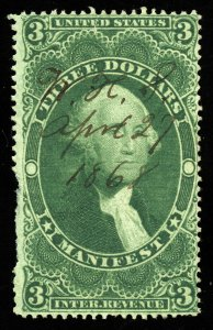 B543 U.S. Revenue Scott R86c $3 Manifest, 1868 manuscript cancel, CV = $55
