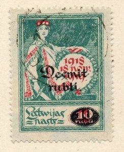 Latvia 1921 Early Issue Fine Used 10R. Surcharged NW-06348