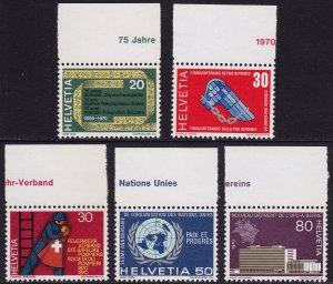 Switzerland - 1970 - Scott #510-514 - MNH - Various