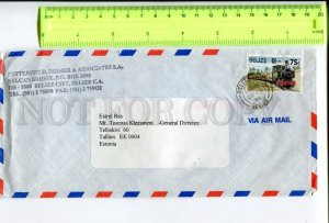 416621 BELIZE to ESTONIA 1996 year real posted air mail COVER Tram on stamp