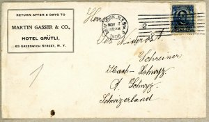 USA 304 TIED TO HOTEL COVER NEW YORK TO SWITZERLAND 1906 EARTHQUAKE REFUGEE