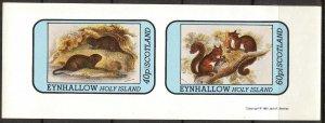 {E135} Eynhallow Scotland Squirrels Beavers Sh.2 Imperf. MNH Cinderella !!