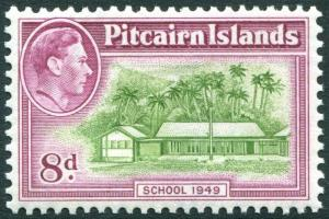 PITCAIRN ISLANDS-1951 8d Olive-Green & Magenta Sg 6a UNMOUNTED MINT V29329