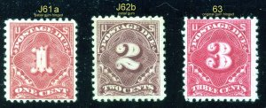 j61a, J62b, J63  Postage Due Mint(see photo for condition)   ⭐⭐⭐⭐⭐⭐
