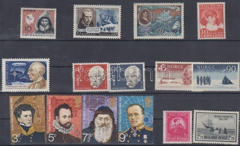 Thematic lot stamp Arctic Researchers 15 diff. stamps 6 diff. countries WS114659