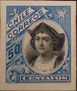 RO) 1905 CHILE, DIE PROOF, COLUMBUS SC 77 50c, CHRISTOPHER COLUMBUS, XF