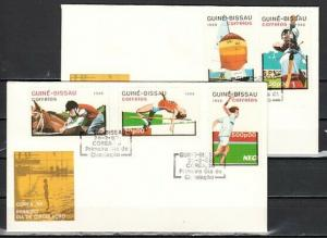 Guinea Bissau, Scott cat. 719-21, 724-25 only. Sports issue. First day covers.