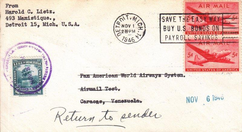 1946, Test Flt., Detroit, MI to Venezuela Cover, RTS (S18844)