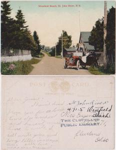 Canada to USA View Card Showing Early Auto at Westfield Beach, N.B. (About1910)