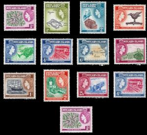 Pitcairn Islands 1957 Sc 20-31 & 38 MH Pre decimal difinitives QEII