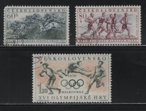 CZECHOSLOVAKIA, 763-765, (3) SET, USED, 1956, TYPES OF 1956