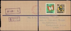 RHODESIA REGISTERED MULTI BUTTERFLIES  TO UNITED STATES   #143