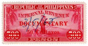 (I.B) Philippines Revenue : Documentary 50c on 500P OP