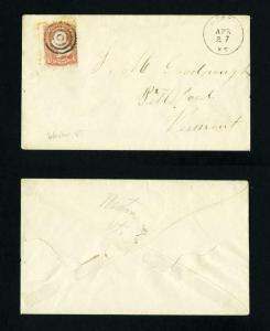 # 65 on cover from Weston, Vermont to Pittsford, Vermont dated 4-27-1860's