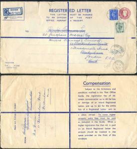 RP68 KGVI 6 1/2d Puce Registered Envelope Size K  2 pound on Back USED