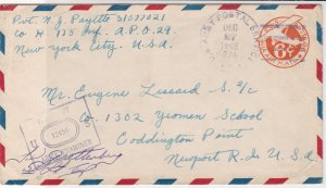 U.S. 1942 Airmail Army Examiner&Army Post Service Cancels 6c Stamp Cover Rf35064