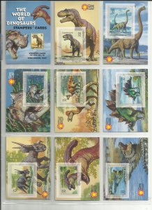 3136a-3136o  Fifteen 32c World of Dinosaurs Stampers Cards MNH