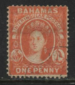 Bahamas QV 1863 1d vermilion used