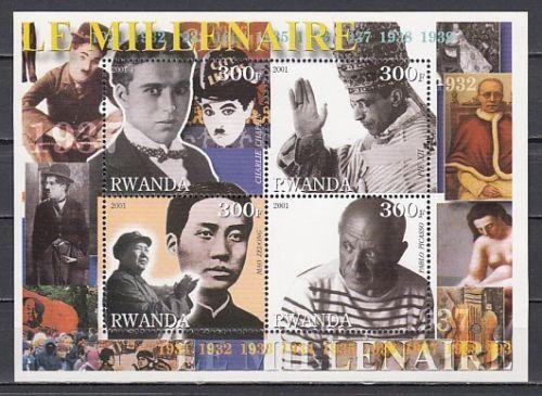 Rwanda 2001 Millennium Famous People Picasso Pope Pius Religions Stamps MNH perf