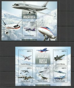 ST1232 2013 GUINEA-BISSAU TRANSPORT RUSSIAN AVIATION AIRCRAFTS KB+BL MNH STAMPS