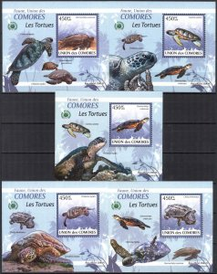 {102} Comoros 2009 Turtles 5 S/S Deluxe MNH**