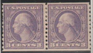 U.S. Scott #494 Washington - Coil Stamp - Mint Pair