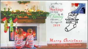 19-310, 2019, Christmas, Pictorial Postmark, Event Cover, St Joseph IL, Stocking