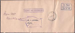NEW ZEALAND 1952 cover to Ngatea : GONE NO ADDRESS.