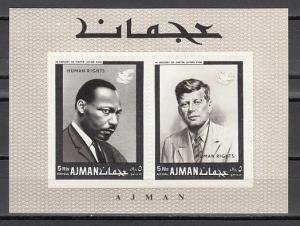 Ajman, Mi cat. 296, BL44 A. Human Right, IMPERF s/sheet. Kennedy shown.