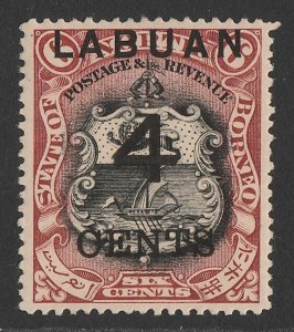 LABUAN : 1899 Large '4 CENTS' on Arms 6c black & brown-lake, perf 14½-15.