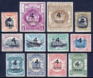 NORTH BORNEO — SCOTT 91-102 (SG 112-124) — 1899 4¢ SURCHARGE SET — MH — SCV $197