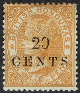 BRITISH HONDURAS 1888 QV 20 CENTS ON 6D