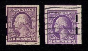 US Sc 483-484 Used Imperforate Shermack Vending Type 1 & Type 2 F- VF