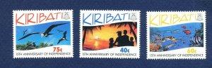 KIRIBATI - Scott 631-633 - FVF MNH - Fish, Birds, Independence - 1994