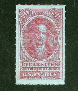 US Stamps VF Unlisted 1898 Cigarette Revenue Red Overprint 1898 TA33
